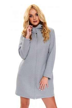 Grey warm hooded dressing gown