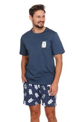 """Męska granatowa piżama z szortami w misie """"BEAR"""""""