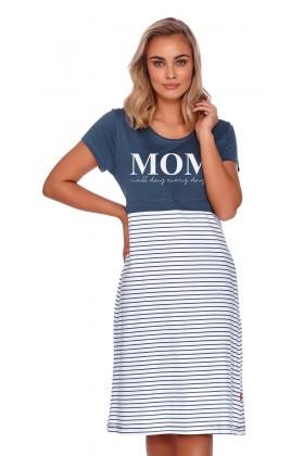 Mom - granatowa koszulka z ekspresem pod biustem
