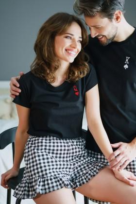 Piżama DAMA KIER z czarną bluzką i krótkimi spodenkami