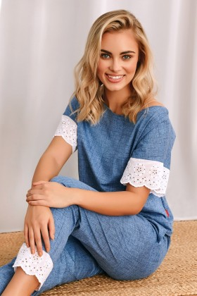 Blue pyjama with white lace