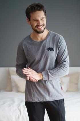 Bawełniana piżama męska z haftem