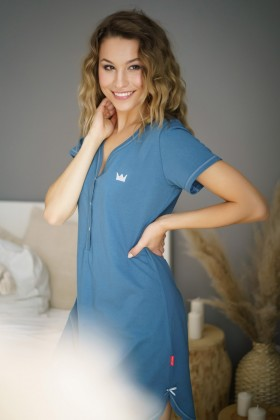 Maternity nursing breastfeeding green nightdress