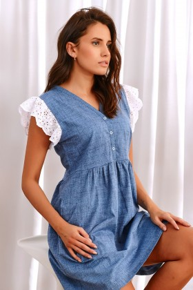 Blue nightdress with lace