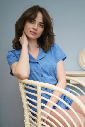Niebieska piżama na guziczki, z szortami
