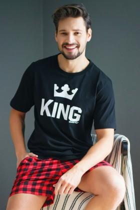 Męska piżama King z czerwonymi spodenkami