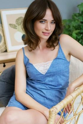 Blue pyjama with white lace