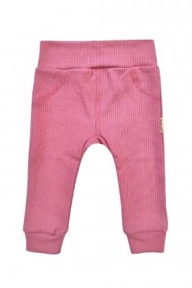Różowe spodenki niemowlęce z prążkowanej bawełny