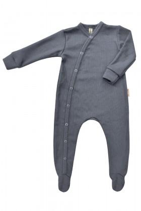 Szary pajacyk niemowlęcy z prążkowanej bawełny