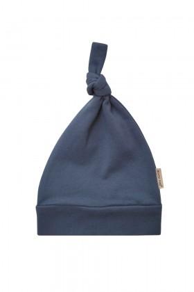 Niebieska czapeczka niemowlęca z delikatnej bawełny