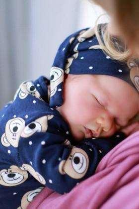 Czapeczka niemowlęca w misie - bawełna organiczna
