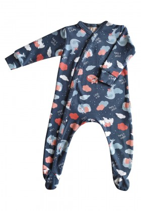 Newborn printed blue baby sleepsuit