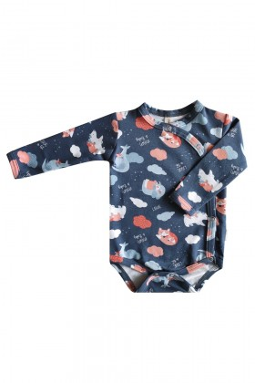 Newborn blue printed cotton bodysuit
