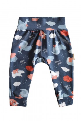 Newborn printed blue baby pants, joggers