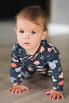 Newborn printed blue baby sleepsuit
