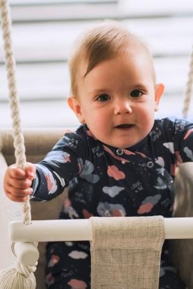 Niebieskie body niemowlęce w urocze zwierzątka