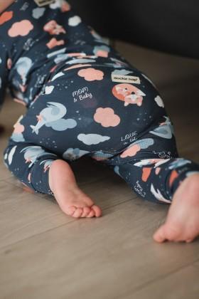 Newborn printed blue baby pants, joggers