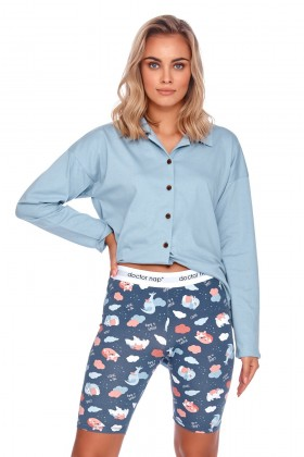 Niebieska piżama z krótkimi legginsami, kolarkami w...