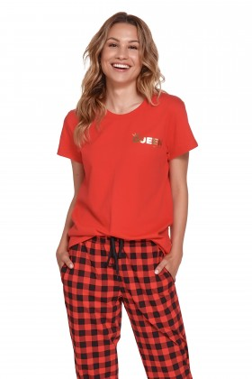 Printed red pyjama set for real Queen