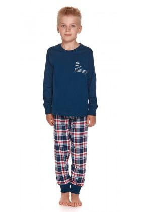 Son - Granatowa dziecięca piżama ze spodniami w kratę