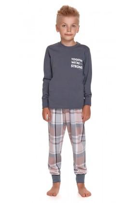 Grafitowa dziecięca piżama ze spodniami w kratkę - unisex