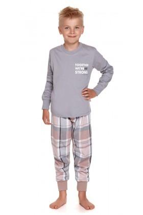Szara dziecięca piżama ze spodniami w kratkę - unisex