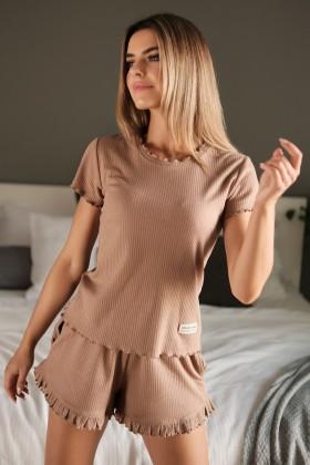 Brązowa piżama z prążkowanej klasycznej bawełny