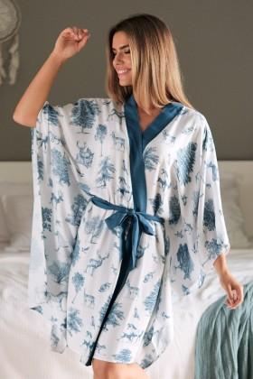 Białe kimono z tkaniny bambusowej