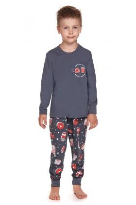 Grafitowa dziecięca piżama z nadrukiem - unisex