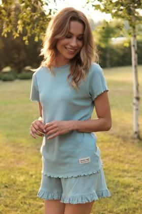 Błękitna piżama z prążkowanej klasycznej bawełny