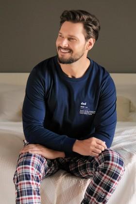 Męska piżama ze spodniami w klasyczną kratkę