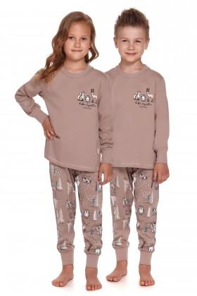 Beżowa dziecięca piżama w zwierzątka - unisex