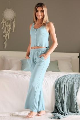 Błękitne spodnie z miękkiej, prążkowanej bawełny