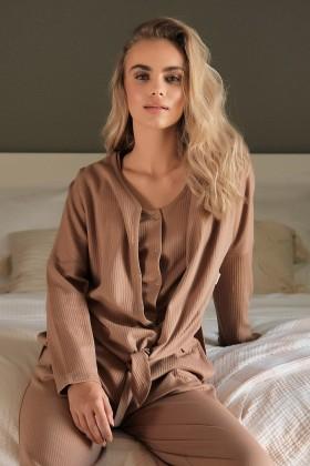 Brązowa bluzka z długim rękawem z prążkowanej bawełny