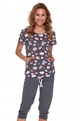 Grafitowa piżama ze spodniami 3/4 z drukiem w urocze...