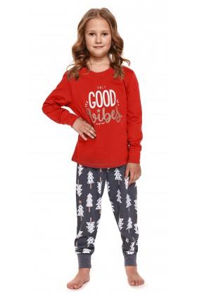 Czerwona dziecięca piżama ze spodniami w choinki - unisex