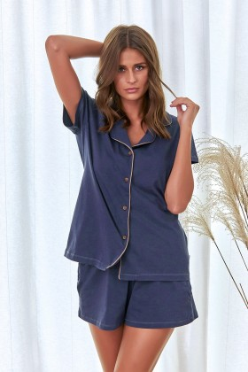 Granatowa elegancka piżama z bawełny organicznej z szortami