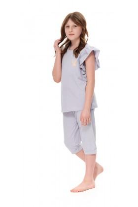 Szara piżama dla dziewczynki z bawełny organicznej