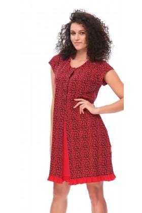 Czerwona koszula nocna dla przyszłych mam w panterkę