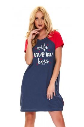 Granatowa koszulka ciążowa i do karmienia, z suwakami i nadrukiem