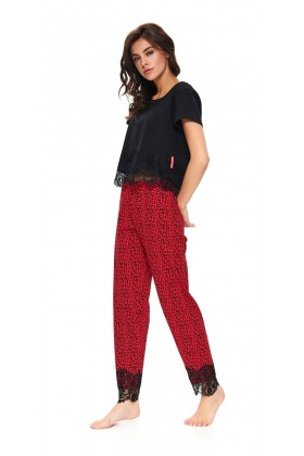 Women's two-pieces pyjama set with lace and chequered pattern