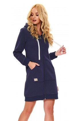 Women's dressing gown, navy organic cotton