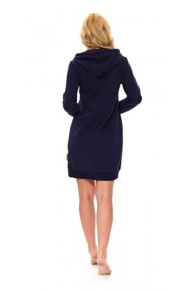 Women's dressing gown, navy organic cotton