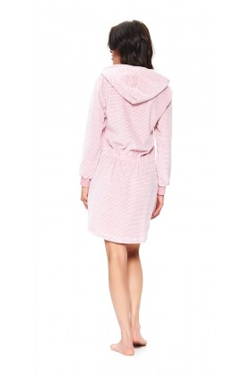 Pink velvet hooded dressing gown