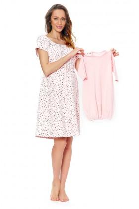 Różowa koszula nocna w kropki dla kobiet w ciąży
