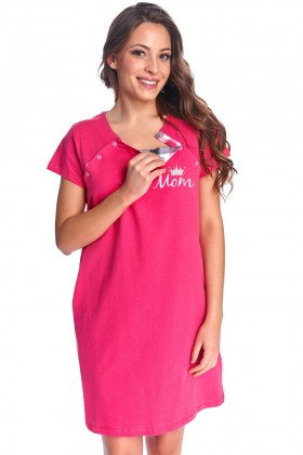 Best Mom - women's maternity nursing breastfeeding fuchsia nightdress