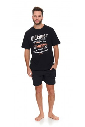 Czarna męska piżama Oldtimer