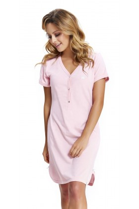 Women's maternity nursing breastfeeding pink nightdress