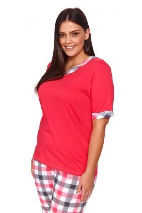 Piżamka plus size ze spodniami w kratkę