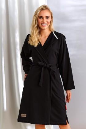 Czarny szlafrok z kapturem, z ciepłej, drapanej bawełny